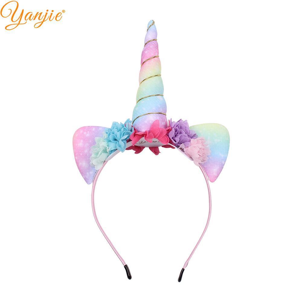 2019 New Arrival Unicorn Hairband Rainbow Charming Fabric Horse Horn Ears Flower Headband DIY Hair Accessories Mujer