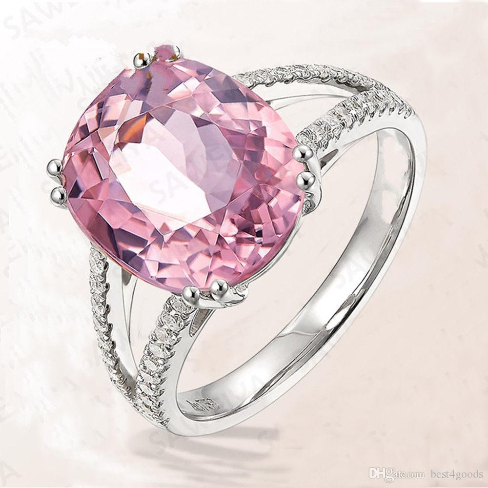 새로운 도착 유럽 패션 핑크 지르콘 크리스탈 여성 반지 약혼 결혼 반지 패션 파티 쥬얼리 크기 6-10