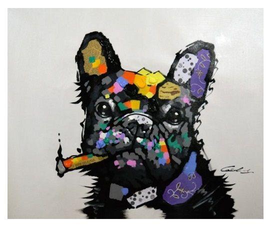 A2H40TOP BULLDOG PUG ANIMAL CONTEMPORÂNEA Arte pintada à mão óleo animal da parede abstrata moderna pintura em tela multi tamanhos Quadro Opções R380 #
