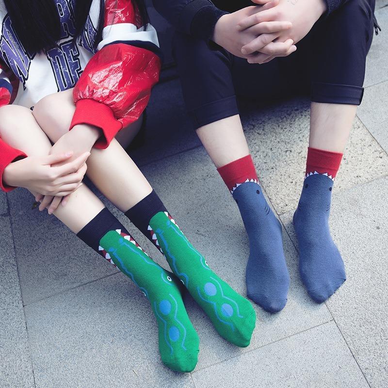 Animal Series Color Fashion Streetwear Unisex engraçado Socks Mulheres Striped Crocodile mulher meias de algodão Casual Calcetines B0053