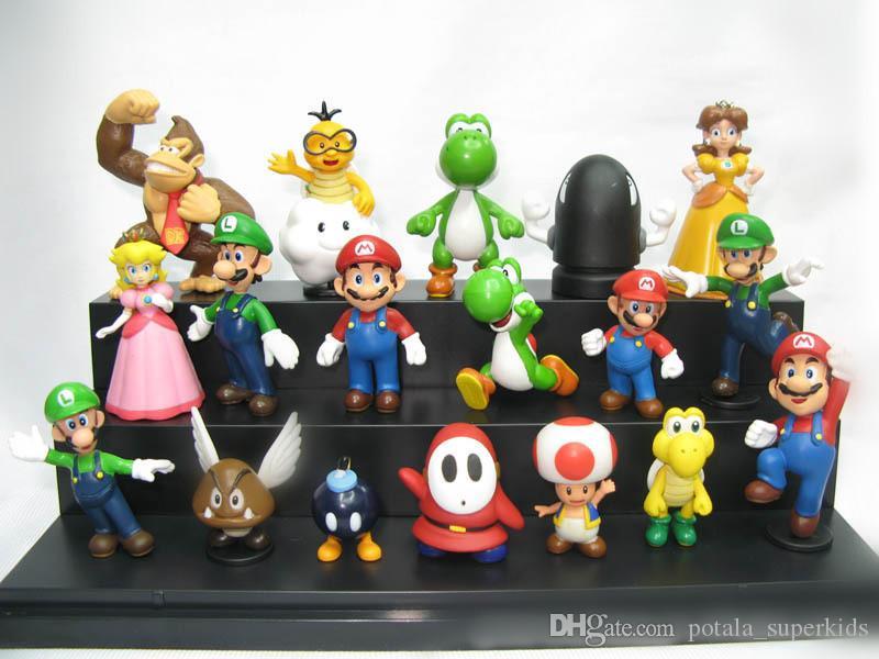 18pcs / set 3-7cm di Super Mario azione figure Yoshi pesca principessa Luigi ragazzo timido modello Odyssey Donkey Kong bambole da collezione bella Mario