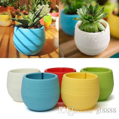 Mini Colourful Round Plastic Plant Flower Pot Garden Home Office Decor Planter