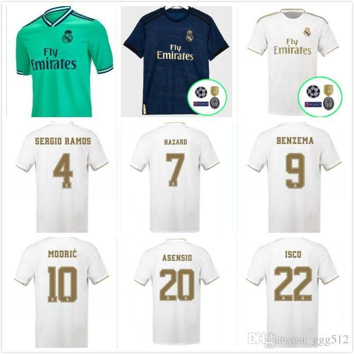 2019 2020 Real Madrid-Fußballjerseys 19 20 GEFAHR MILITAO MODRIC camiseta de fútbol BALE SERGIO RAMOS ASENSIO Fußballhemden