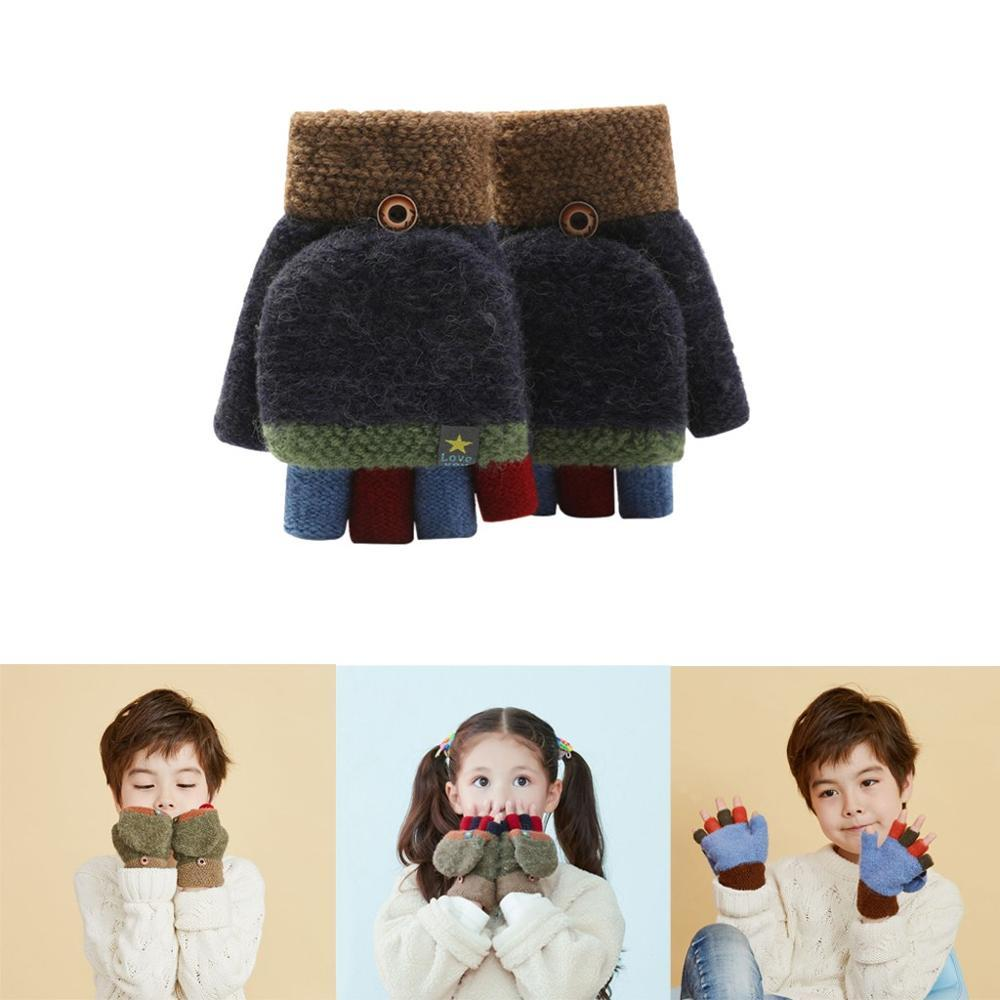 Child Half Finger Mitten Flap Design Knited Gloves Soft Kid Outdoor Hand Protect