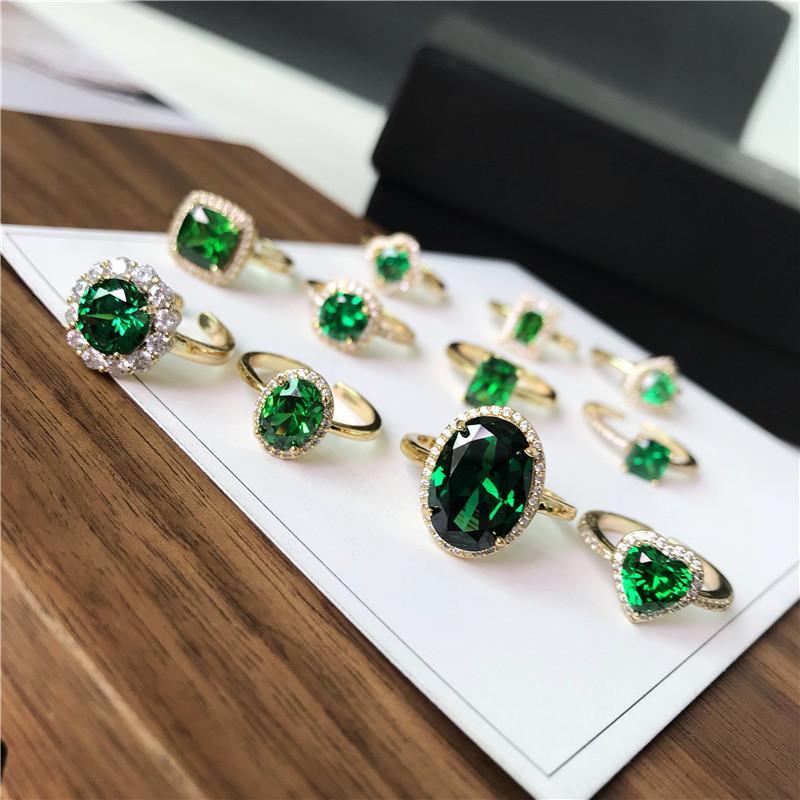 Kadınlar S925 Gümüş Zümrüt Yeşil Taş Ayarlanabilir Yüzük Altın Gelin Düğün Güzel Takı Aksesuar J190707 için Vintage Halkalar