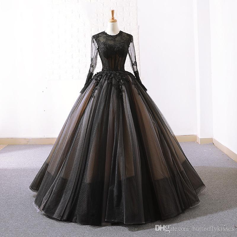 2019 simples robes de mariage de plage de tulle noir manches longues pure cou robes de mariage robes de mariée longueur plancher personnalisé