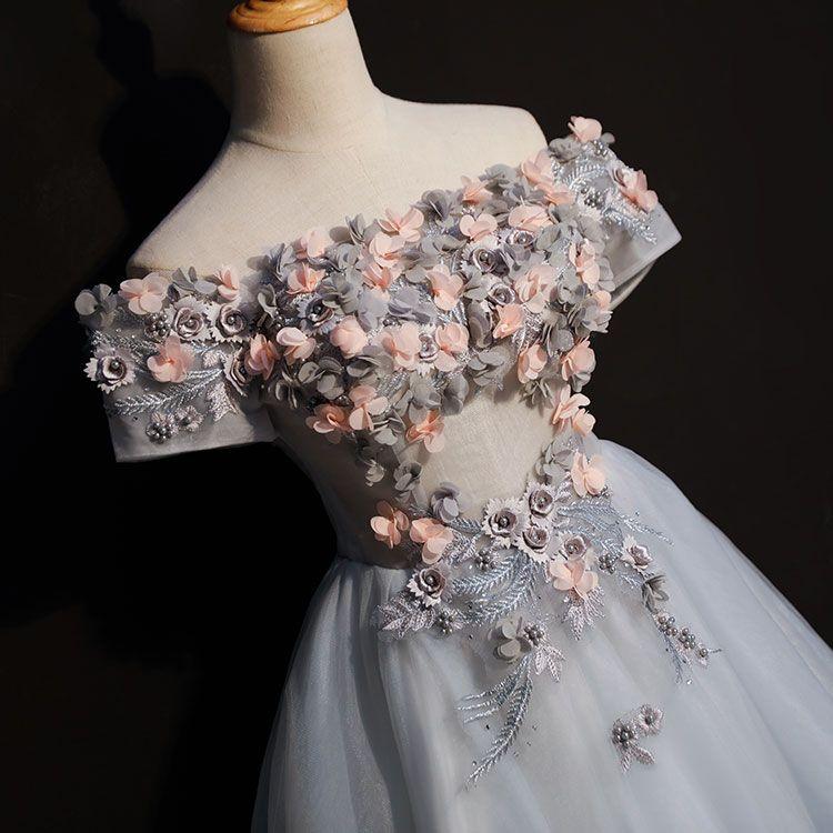 freies schiff kurz lolita alice cosplay grau 3d blumen kurz ballkleid mittelalterliches kleid renaissance kleid königin viktorianisch / belle ball