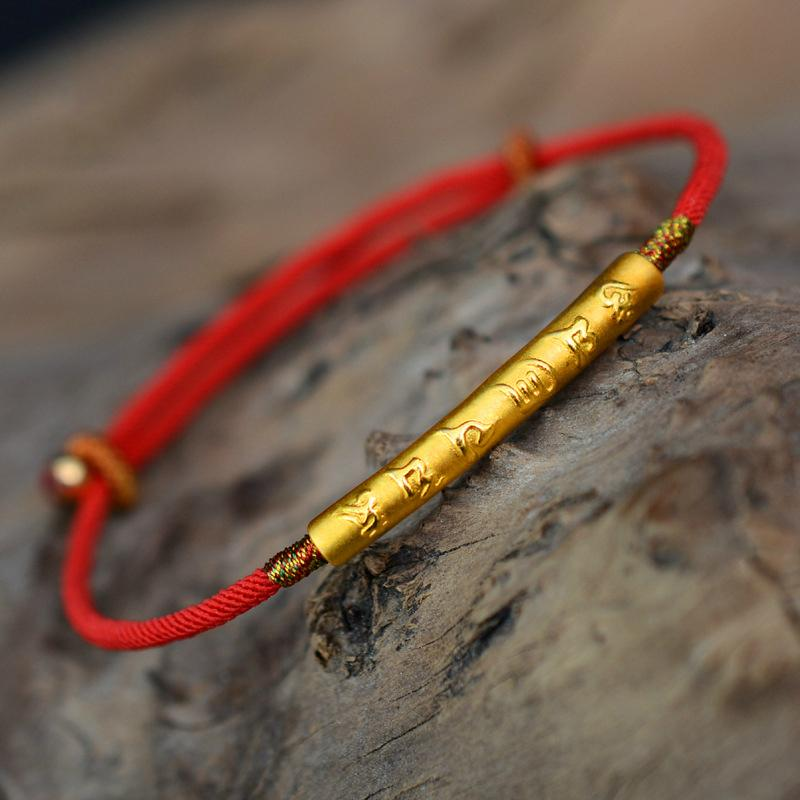 Tibetischer Buddhismus 990 Silber Sterling Six Words Armband Lucky Red Wax String Handgemachter Amulett Schmuck MX190727