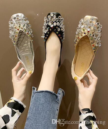 2019 yeni moda kadınlar Rahat Ayakkabılar elmas Kare kafa sığ ağız Yumuşak alt Rahat düz ayakkabı