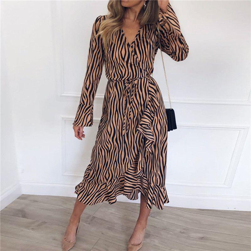 Verão vestidos longos mulheres zebra impressão praia chiffon dress casual manga longa decote em v babados elegante party dress vestidos