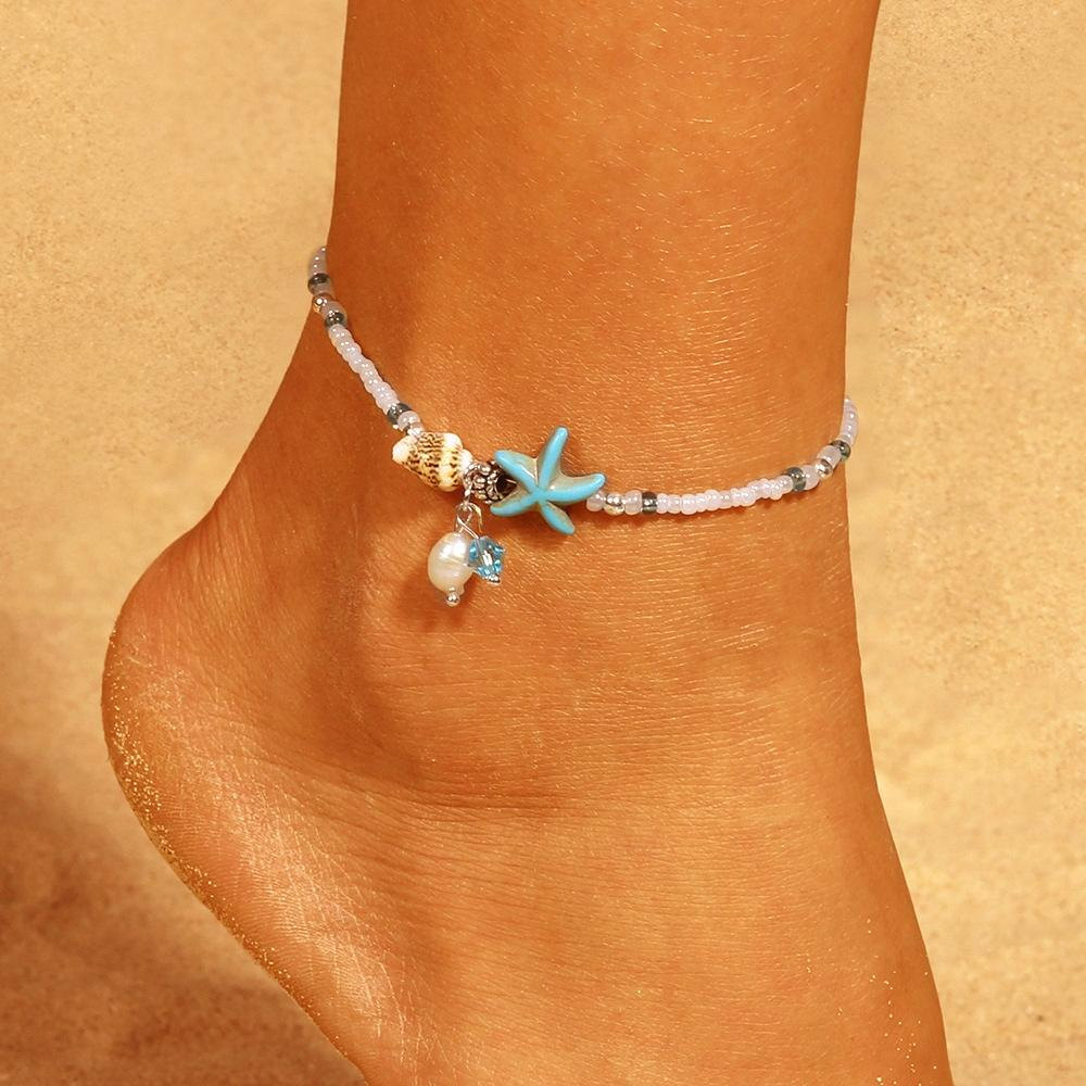 55VQd ayakkabısı Plaj moda bohem Boncuklu milliyet bayanlar Grup halhal boncuklu denizyıldızı halhal Etnik kabuk deniz kabuğu etnik tarzı