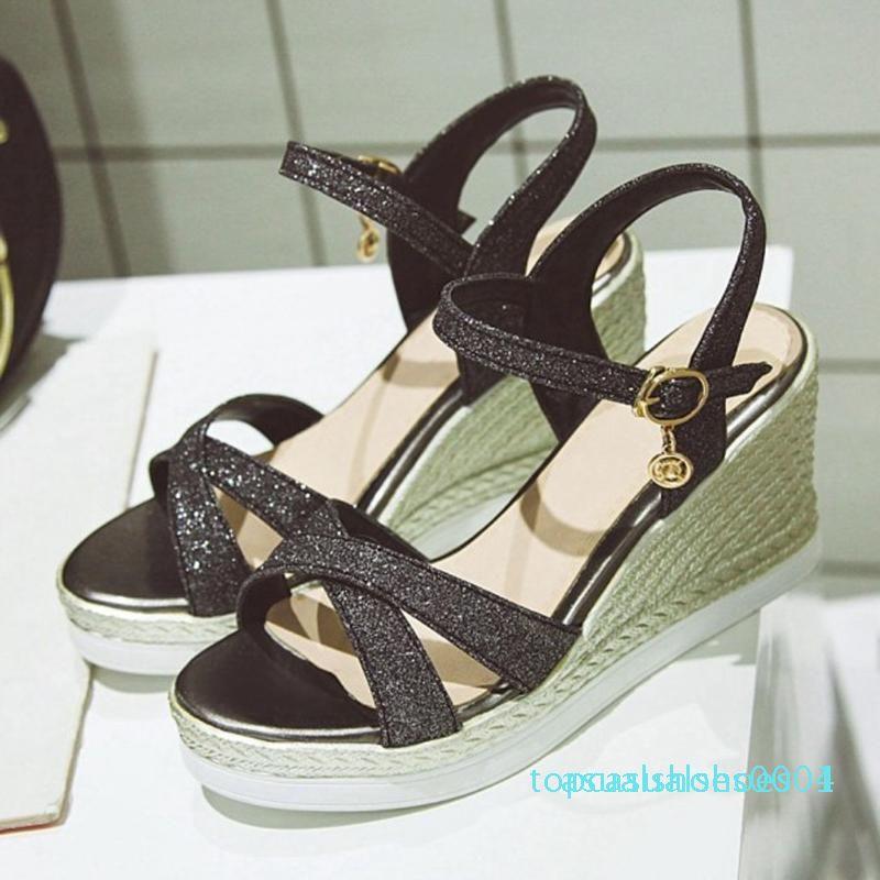 Mujeres lentejuelas sandalias de la señora del vestido ocasional de zapatos plataforma de las cuñas sandalias de tacón alto de la hebilla Sapato Femenino Mujeres