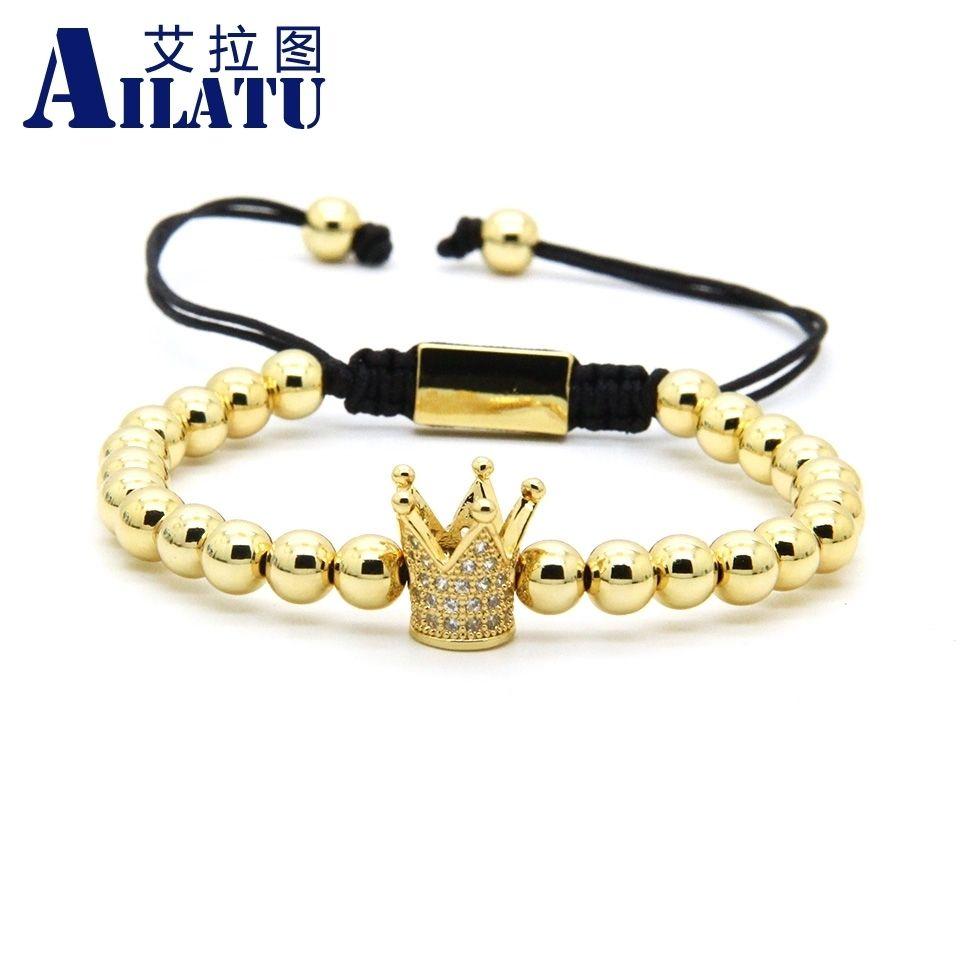 Ailatu Clear CZ corona intrecciata bracciale da uomo con bracciale all'ingrosso 6mm perline in ottone di alta qualità gioielli regalo J190722