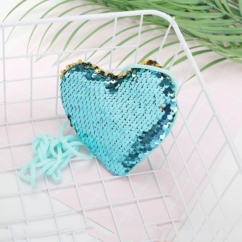 A forma di cuore Mermaid Paillettes Borsa della moneta con la cordicella ragazze glitter raccoglitore del sacchetto Borse Portatile piccolo Portafogli 10pcs