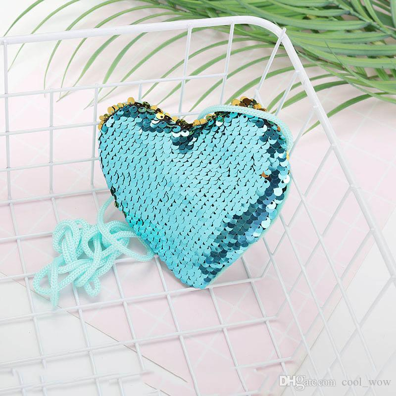 Форма сердца Русалка блестки портмоне с талрепом девушки блеск сумка кошелек портативный сумки небольшие кошельки 10 шт.