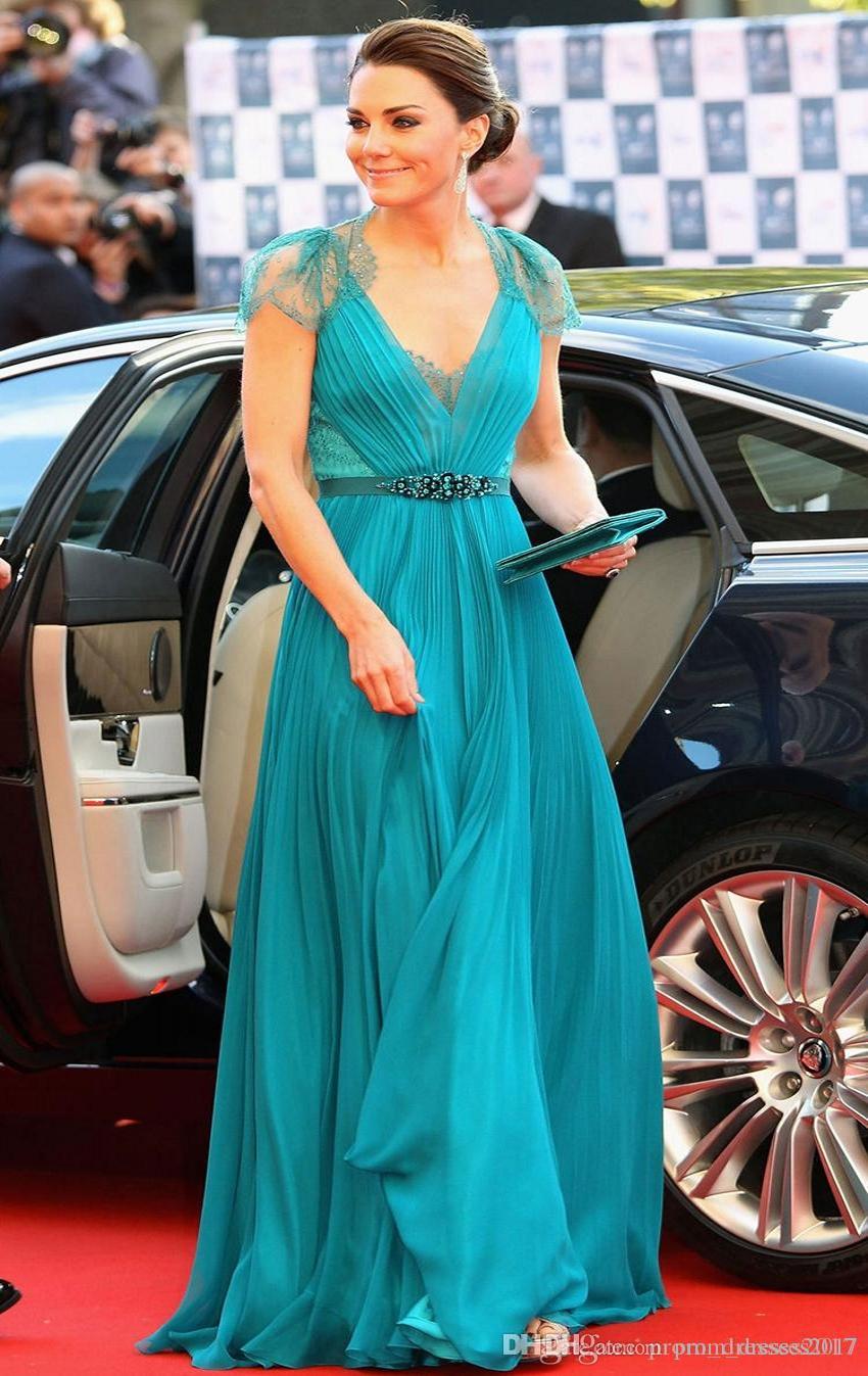 Kate Middleton Em Jenny Packham Sheer Lace Chiffon Vestidos de noite com mangas Evening vestidos formais celebridades vestidos no tapete vermelho