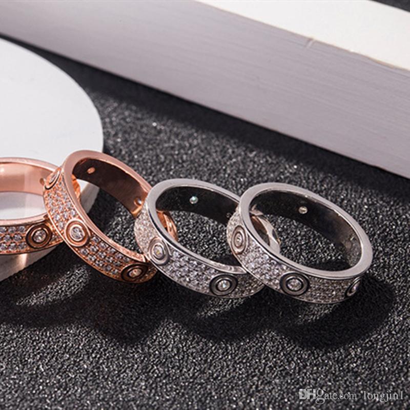 Celebrity Style Hot Coppia anulare ampia versione ristretta versione completa zircone uomini e donne e l'anello di colore argento stesso oro Colour Jewelry ZK40