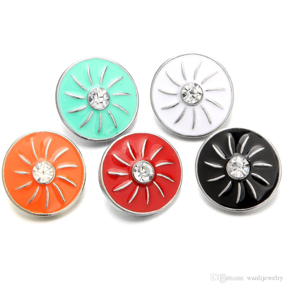 New oil Flower 18mm Snap Buttons with Rhinestone Charm Button Fit Silver Snap Bracelets Bangles