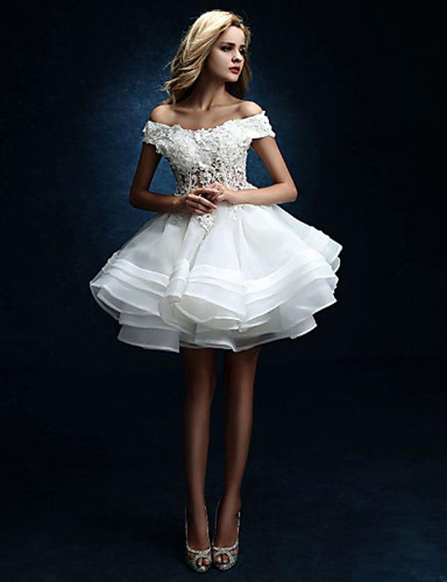 Short Ball Gown Wedding Dresses Sexy Lace Up Back Wedding Gowns Bridal Bateau Organza Sexy Mini Dress Ball Gown Wedding Dresses Tiers