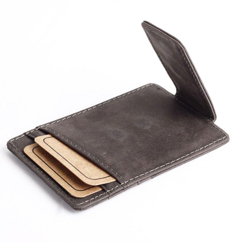 Designer-- nueva llegada de la vendimia nubuck de cuero genuino de los hombres clip de dinero billetera con ranuras para tarjetas monedero sencilla pinza imán diseñador para hombres