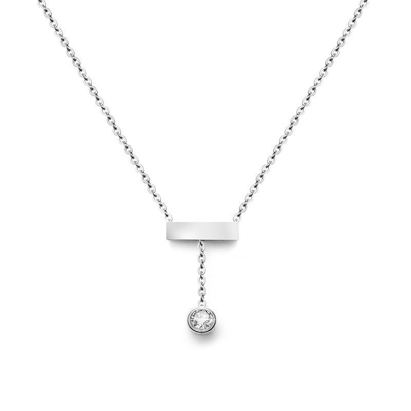 بسيطة لونغ الشرابة عظم الترقوة قلادة للنساء مجوهرات بالجملة الفولاذ المقاوم للصدأ قلادة القلائد مع زركون