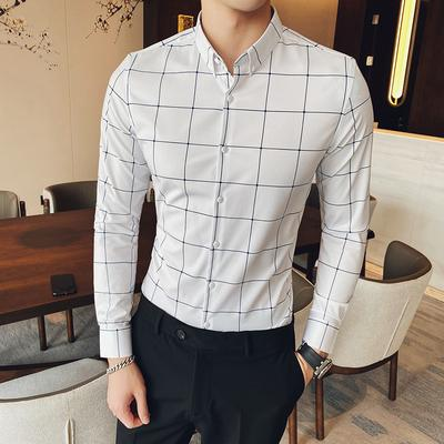 2020 primavera nuova boutique giovani inglesi Slim plaid casuale di affari della camicia degli uomini di qualità buona camicia a maniche lunghe di fascia alta