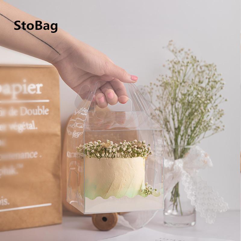 Stobag 10pcs Griff Transparent-Kuchen-Dekoration-Kästen für Geburtstags-Party-Handgemachte Baby Show Geschenk-Paket Supplies Favor