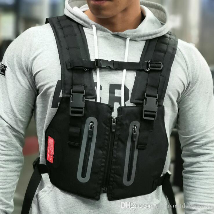Reflektierende Tactical Vest Men Outdoor Schutzbrusttasche Übung Rig Bag Hip Hop Street Männer Training Kleidung Rucksack Hüfttasche UK-3