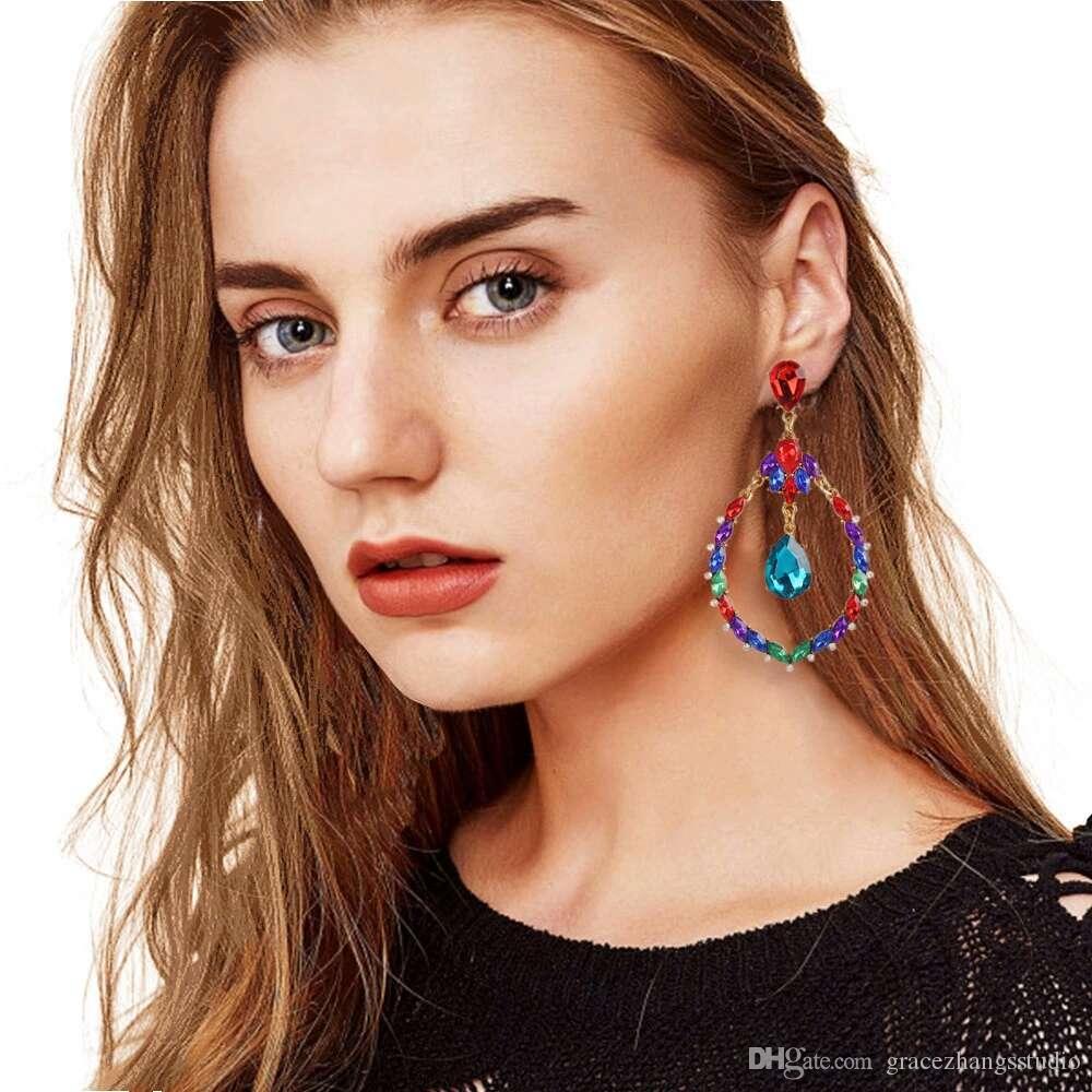 Renkli elmas dangle küpe kadınlar için moda su damlası kız kristal avize küpe tatil stil takı sevgililer hediye için gf