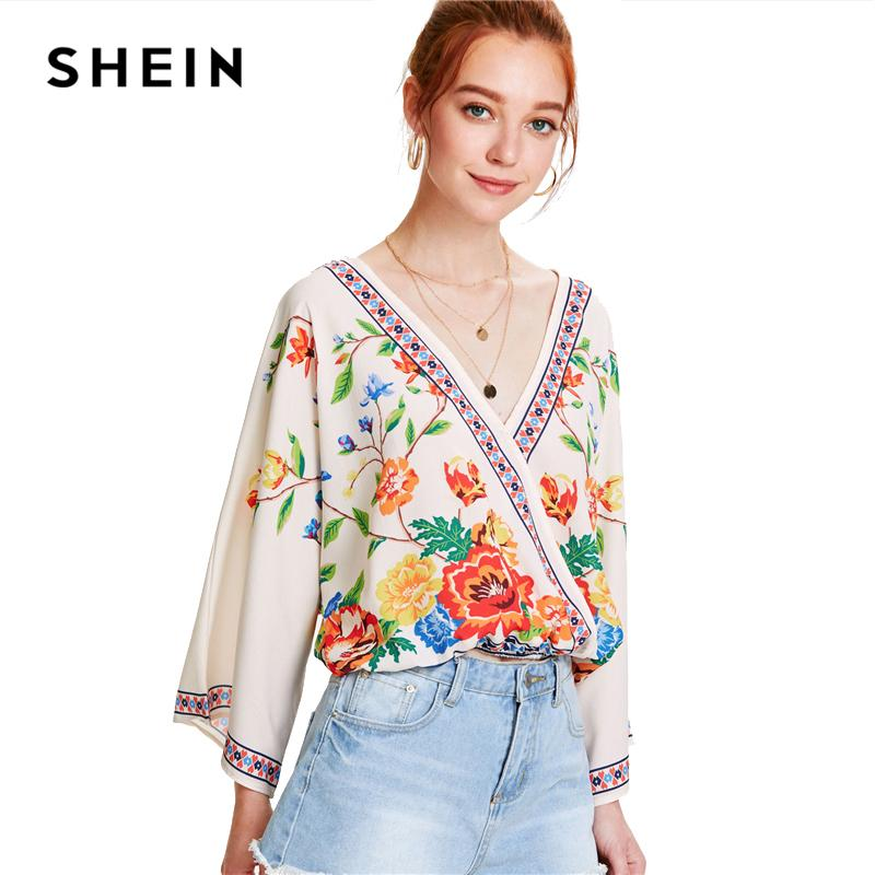8265b5fb9c 2019 Shein Surplice Neckline Florals Top 2018 Summer V Neck Long Sleeve  Print Women Patchwork Floral Beach Blouse Q190518 From Yiwang03, $42.72 |  DHgate.Com
