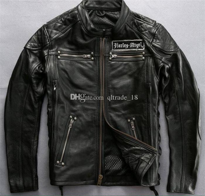Gola preta gola Halery Jaquetas de couro de motocicleta com caveiras Jaqueta de couro genuíno anti-noite com zíper de ykk