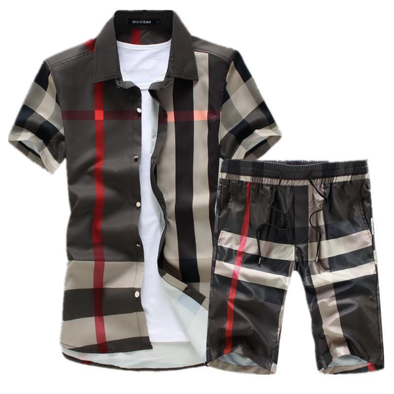 2019 Летняя мода новых людей вскользь бутик с коротким рукавом рубашки шорты наборы / Мужские эластичный пояс Прямые шорты C190420