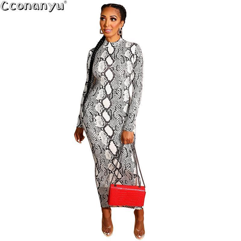 여성 뱀 피부 드레스 섹시한 인쇄 여자 뱀 피부 덮개 롱 슬리브 지퍼 깊은 v 미디 바디 콘트 드레스