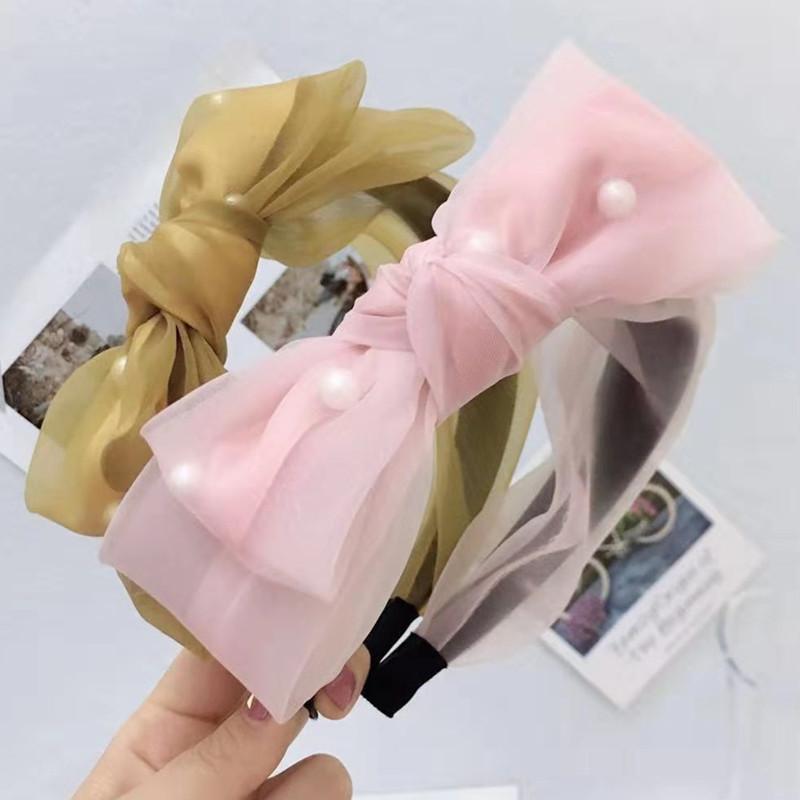 Модули сетки мода диапазон волос мода с бантом Жемчужина оголовье женщин личности партия сплошной цвет лента для волос для женщин