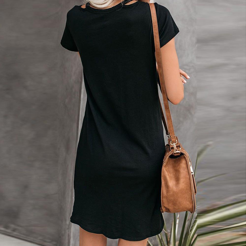 Yeni Yeni Elbise Kadın Avrupa Ve Amerika-Style Katı Renk V yaka Kısa Kollu Tie Casual tişört Elbise Fabrika Doğrudan