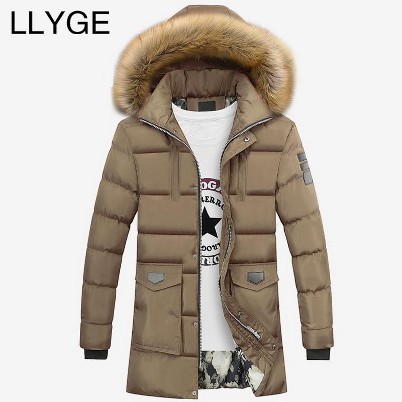2018 겨울 남성 따뜻한 자켓 모피 칼라면 패딩 롱 파커 남성 캐주얼 탈착 가능한 후드 두꺼운 코트 아웃웨어 플러스 사이즈