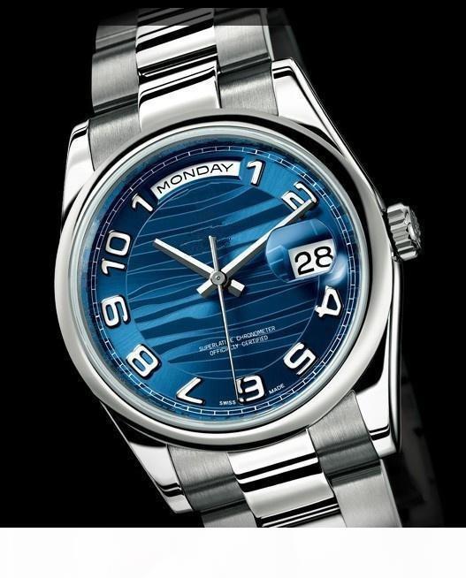 Hot vente Top qualité des hommes automatiques montres cadran bleu hommes bande en acier inoxydable montre-bracelet livraison gratuite