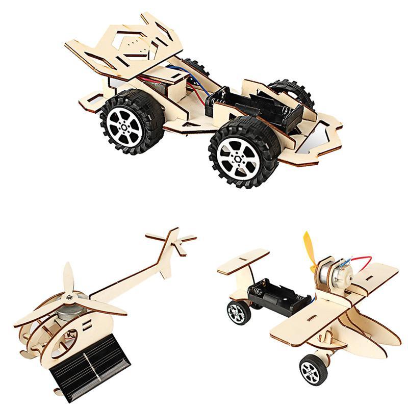 تجارب خشبية لعبة الجمعية العلوم الفيزيائية لعبة مجموعة طائرة السيارات تجميعها نموذج لعب الاطفال تعليم لعبة للتربية