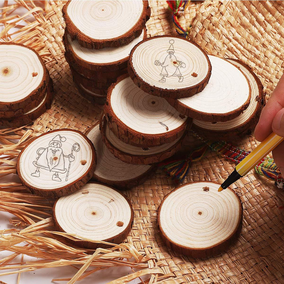 Christmas Ornaments Wood DIY Small Wood Discs Circles Painting Round Pine Slices w/ Hole Jutes Party Supplies 6CM-7 CM EEA756