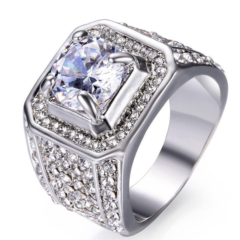 Mens ring hip hop jewelry Zircon iced out rings Cut Topaz CZ Diamond Full Gemstones Men Wedding Band Ring fashion Jewelry