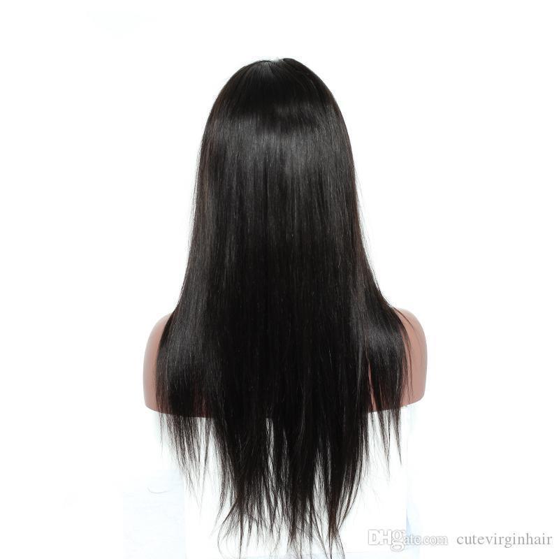 Brasilianische seidige gerade Spitze-Front-Menschenhaar-Perücke für schwarze Frauen 150% Dichte Spitze-Front-Perücke mit Baby-Haar Natürlicher Haarstrich Schwarz Farbe