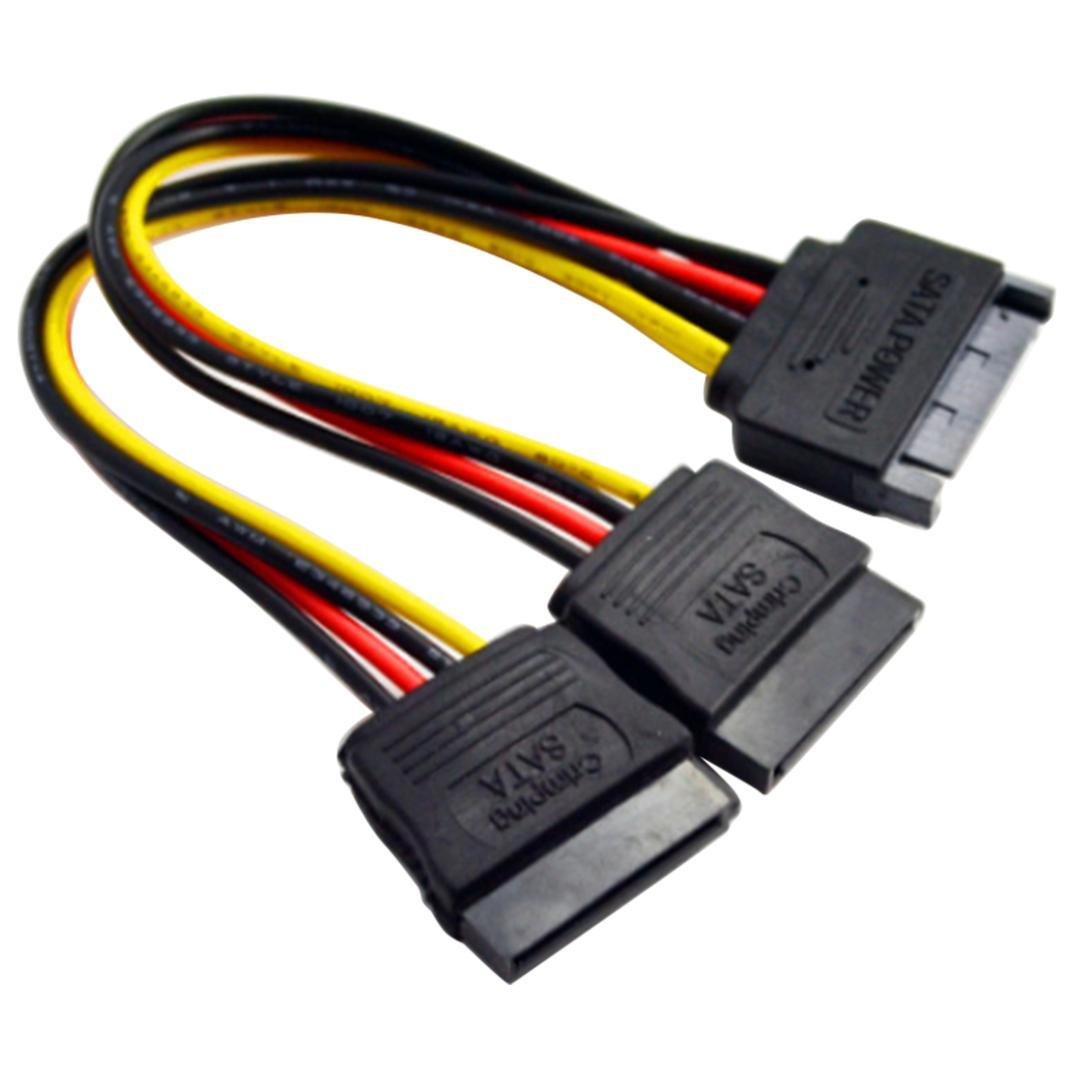 SATA Power 15-pin Y-Splitter Cable Adapter Male to Female for HDD Hard Drive US