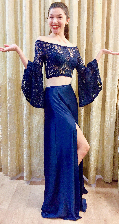 Due pezzi da sera Abiti vesti de soirée al largo della spalla Bateau scollatura manica lunga Prom Dress vestidos de fiesta partito convenzionale abiti