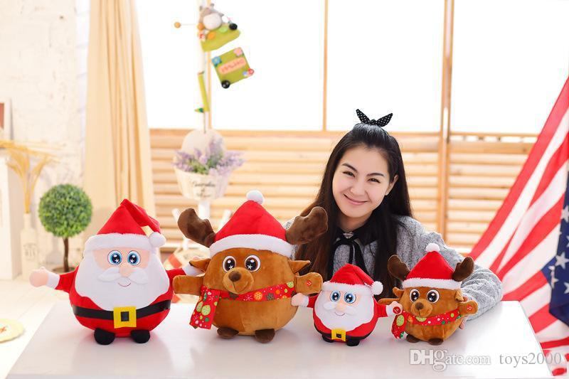 25cm Colorful Glowing christmas father Milu deer Plush Toys Creative Light Up LED Singing music Stuffed animals for Kids Christmas Toys