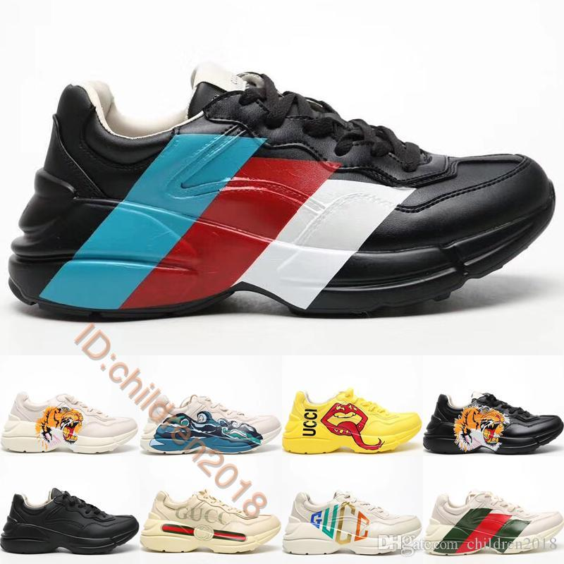Luxury Rhyton Leather Sneaker For Men Women Casual Shoes 2020 Designers White Web Mouth Print Tiger Head Vintage Letter Old Shoes Size 36-45
