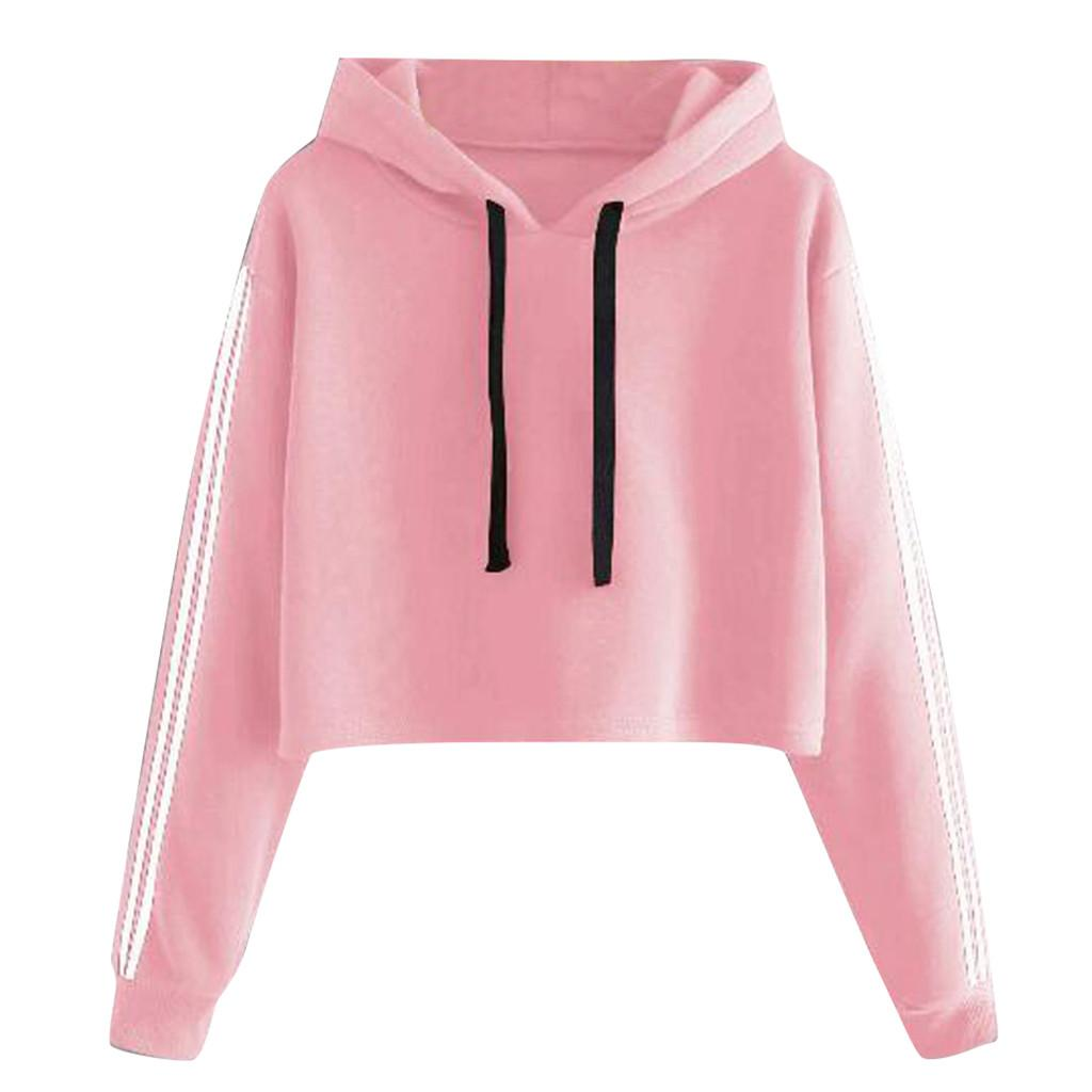 Womens Long Sleeve Tops,Fashion Women Solid Lace Up Drawstring Long Sleeve Sweatershirt Hoodie Tops