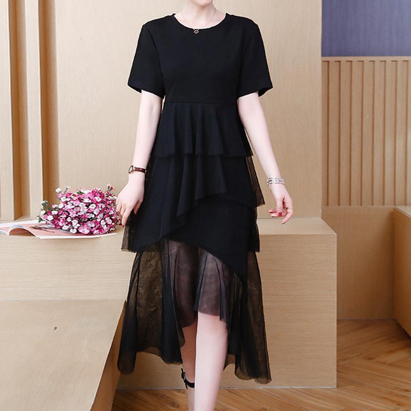 Plus Size 4XL Size T-Shirt Donna Abiti Estate 2019 New Female casual Manica Corta Maglia Larga Splicing Femminile Vestito Dalla Torta 300C3