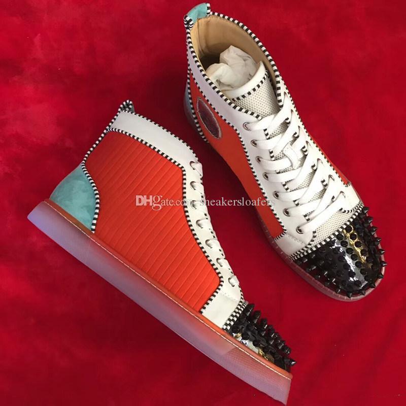 Qualitäts-Spikes Toe-Turnschuhe Männer rote Unterseite Leder Frauen, Männer Marken-Top Gehen Partei beiläufig Wohnungen Schuhe
