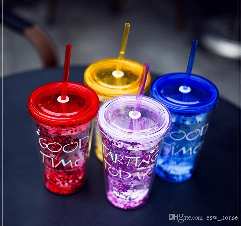 Suco de ouro em pó Cup 450ml Double Layer Juice frasco plástico copo plástico de água com palha 15,5 * 6,5 centímetros