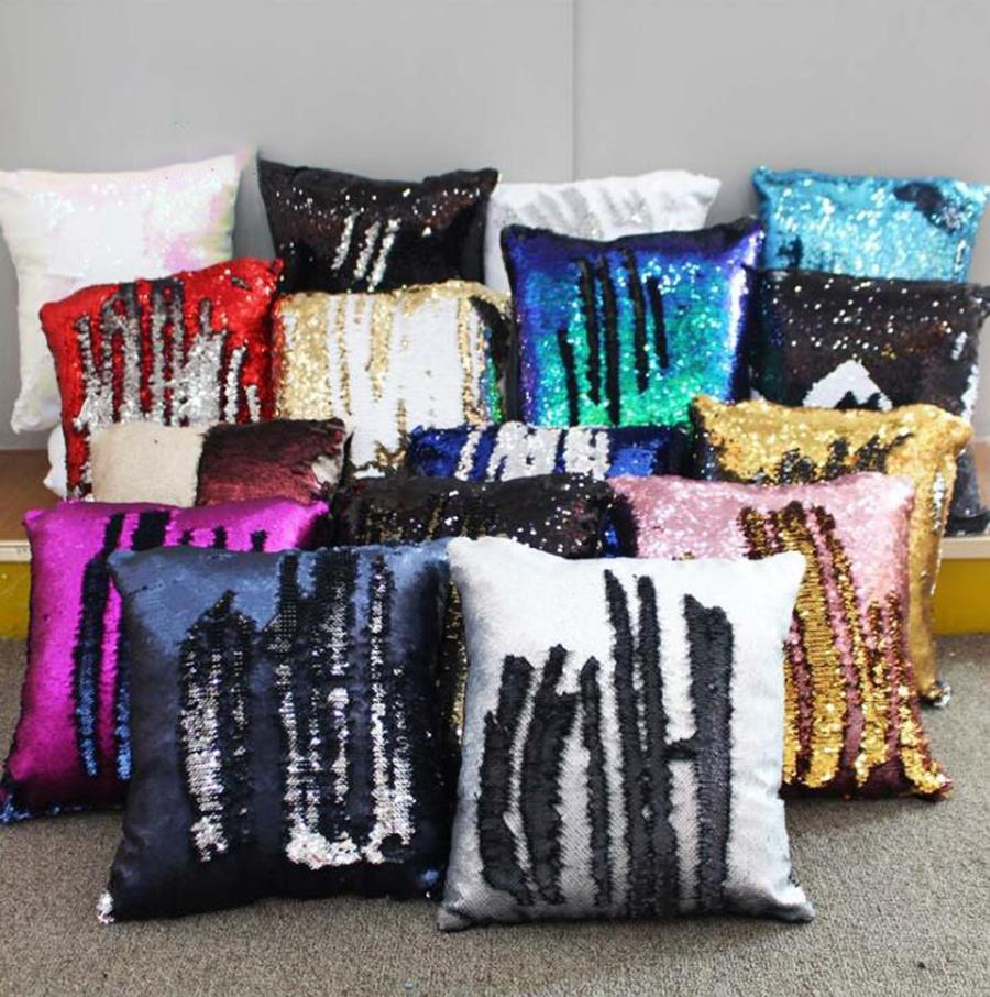 Mermaid Sequins Pillow Case 18 Colors 40*40cm DIY Magic Cushion Cover Reversible Sequin Pillowcover for Sofa Decorative 30pcs OOA7573